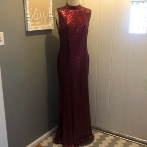 Size 1XL evening gown cranberry sequins NWT